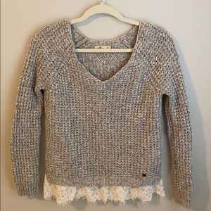 Hollister v neck sweater gray with lace, soft EUC
